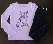 Gap Kids Girl Lilac Ponny T-shirt & Black Sparkle Leggings 4 5 6 7 8 9 10 11 13