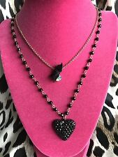 Betsey Johnson Black Jet Set Crystal Paved Heart Beaded Bow AB Gold Necklace