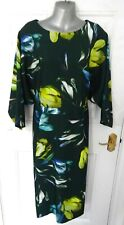 ❤ ASOS 18 Dark Green Lime Blue Floral Occasion Dress Batwing Stretch Back Zip