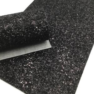 BLACK GLITTER Canvas Sheets, Glitter Sheet, Chunky Glitter Material for Hair Bow