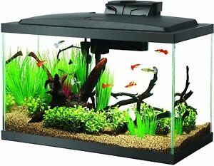 LED Fish Aquarium Starter Kit, 10 gal tank, Heater, Power Filter, food, fish net