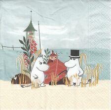 2 Lunch Paper Servietten Napkins (ZZv22) Moomins am Strand