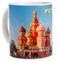 Moscow Souvenir Mug With Kremlin and Red Square. Made in Russia 10 fl oz