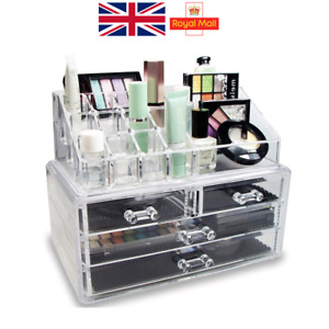 Makeup Organiser Acrylic Clear Holder with Drawer Jewellery Storage UK