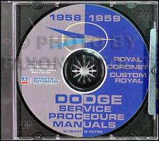 1958 1959 Dodge Auto CD Riparazione Shop Manual Personalizzato Coronet Royal