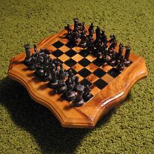 Wooden chess set Russian Soviet USSR handmade vintage table metal figures