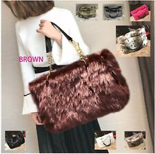 FREE SHIPPING Faux Furry Fur Hobo Tote Large Shoulder Bag Big Handbag C42