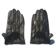 man  real Italy leather motor driving unlined short  leather gloves black grey