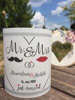 4 x Windlicht Hochzeit Tischdeko Tischlicht Deko Namen, Datum Mr & Mrs Geschenk