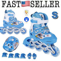 S Size Inline Roller Skates Blades Wheels Kits with Pads Kid Boy Girl Youth oA
