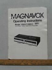 Magnavox operating instructions VR8372bk01 video cassette recorder manual