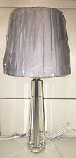 TALL Art Deco Style Chrome Cut Glass Column Grey Pleat Shade Table Lamp NEW
