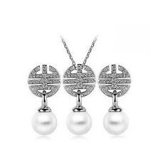 Hochzeit Brautschmuck-Set weiße Perle Strass Ohrhänger Halskette S613