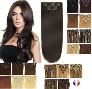 Extensions A Clips Cheveux Mixtes Remy Lisses Naturel 60cm 49cm express 24/48H