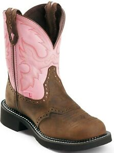NWT Justin Gypsy Women's Bay Apache/Pink Round Toe Boots L9901