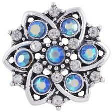 Interchangeable Jewelry Button Charm 18mm Fits Ginger Snaps Blue Snap Chunk