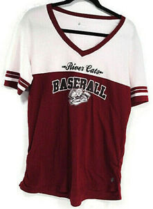 Russell Sacramento River Cats Red V Neck Short Sleeve T Shirt XL Large