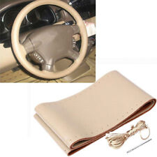 DIY Black 38CM w/Needle Thread Genuine Leather Car Auto Steering Wheel Cover