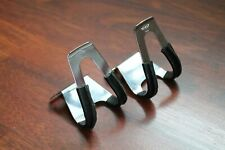 NOS Vintage REG Italy Half Mini Toe Clips Black Leather Small