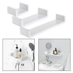 Floating Wall Hanging Shelves White U Shaped for Bathroom Display Organizer