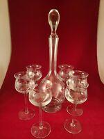 """VINTAGE 15""""  WINE DECANTER & 6 GLASSES  SET, ETCHED GLASS CRYSTAL. EXCELLENT"""
