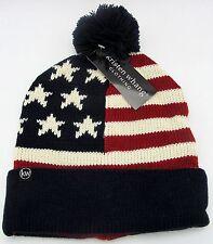 USA Flag Cuffed Pom Knit Beanie Stars Stripes Old Glory Cuff Skull Cap Hat NWT