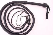 Genuine Cow Leather 6 Feet Long 12 Plait Weaving Bull Whip Black,Heavy Duty Whip