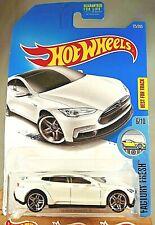 2017 Hot Wheels #175 Factory Fresh 6/10 TESLA MODEL S White w/Chrome Pr5 Spokes