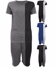 Mens 3/4 T Shirt + Shorts Full Track Suit Outfit Set Summer Casual/Loungewear