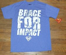 Superman Brace for Impact Graphic Workout Top Wicking Active Wear Shirt Tee Sz M