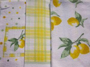 3 x 100% Cotton Tea Towels  Modern Design Sunshine Yellow  Lemons Great Fun