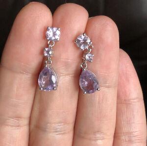 Solid Silver 925 Purple Amethyst Drop Stud Earrings TGGC