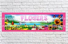 Personalized Flowers Nature Name Poster with Border Mat Art Customized Banner