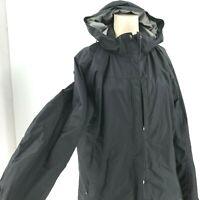 EDDIE BAUER - WOMEN'S XL - BLACK WEATER EDGE ZIP & SNAP HOODED RAIN JACKET