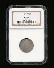 """1912-S Liberty Nickel V-Nickel 5C NGC MS 63 Type 2 With """"CENTS"""" RARE LOW MINTAGE"""