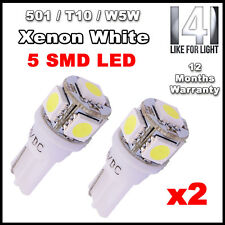 2x PURE WHITE 5 SMD LED SIDELIGHT / INTERIOR BULB T10 W5W 501 6000K 6K