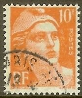 "FRANCE TIMBRE STAMP N°722 ""MARIANNE DE GANDON 10F ORANGE"" OBLITERE TB"