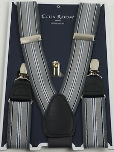 New 40$ Club Room Men's One Size Grey Striped Woven Mesh Adjustable Suspenders