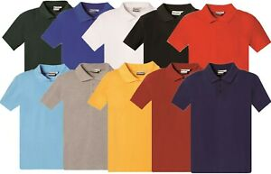 Childs 5 Pack School Uniform Polo shirts Kids Unisex Plain 100% Cotton T Shirts