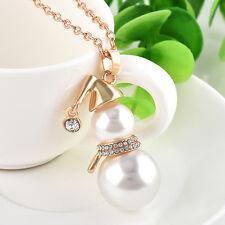 Crystal Pearl Snowman Pendant Bib Statement Chain Necklace Fashion Women Jewelry