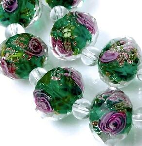 14 Czech Glass Faceted Rondelle Beads - Emerald Green Encased Rose Flower 12x8mm