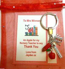 NurseryTeacher Danke Geschenk Keyring auf Personalisiertes Karte +Tasche Apple