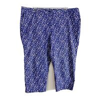 Talbots Blue White Floral Capri Cropped Pants Women's Plus Size 18