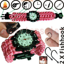 Pink Military Paracord Survival Sport Swimming Wrist Watch / Tactical Bracelet