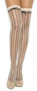 sexy ELEGANT MOMENTS satin BOWS pinstriped THIGH highs HI stockings NYLONS sheer