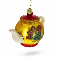 Decorated Teapot Glass Christmas Ornament