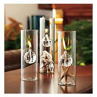 2pcs Cylinder Shape Glass Oil Lamp Reading Room Light Kerosene Burner 12cm& 15cm