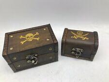 Jolly Roger Pirate Rustic Wooden Box Style Skull & Crossbones Treasure Chest