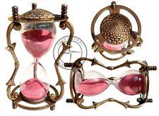 Vintage Brass & Glass Sand HourGlass Timer Nautical Maritime Antique Sand Clock
