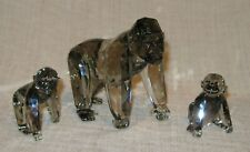 Swarovski Crystal Figurine Gorilla Mother with Two Babies in Box